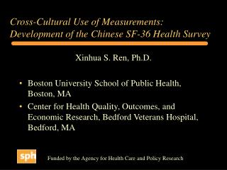 Cross-Cultural Use of Measurements: Development of the Chinese SF-36 Health Survey