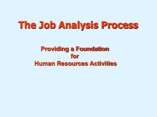 The Job Analysis Process