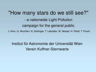 Institut für Astronomie der Universität Wien Verein Kuffner-Sternwarte