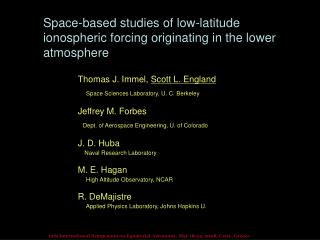 Space-based studies of low-latitude ionospheric forcing originating in the lower atmosphere
