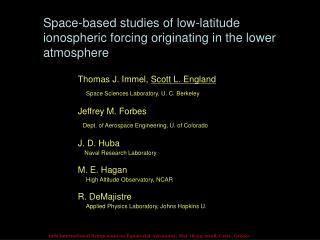 Space-based studies of low-latitude ionospheric forcing originating in the lower atmosphere