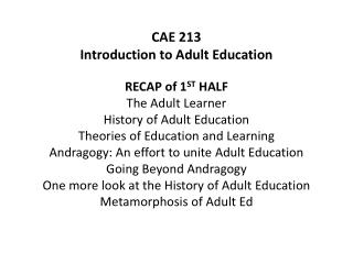 CAE 213 Introduction to Adult Education