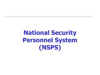 National Security Personnel System (NSPS)