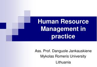 Human Resource Management in practice