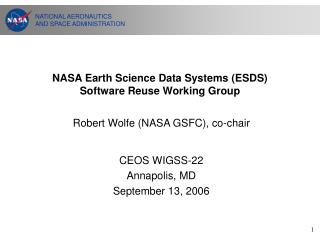NASA Earth Science Data Systems (ESDS) Software Reuse Working Group