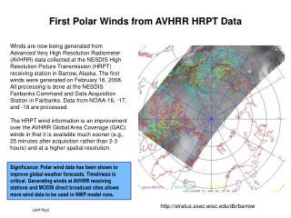 First Polar Winds from AVHRR HRPT Data