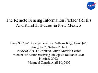 The Remote Sensing Information Partner (RSIP)  And Rainfall Studies in New Mexico