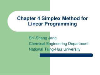 Chapter 4 Simplex Method for Linear Programming