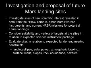 Investigation and proposal of future Mars landing sites