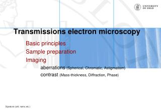 Transmissions electron microscopy