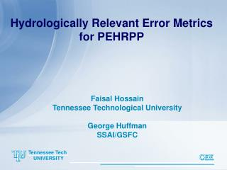 Hydrologically Relevant Error Metrics for PEHRPP