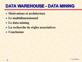 DATA WAREHOUSE - DATA MINING
