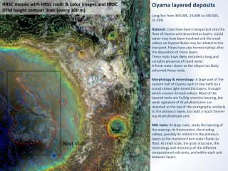 Oyama layered deposits Long/lat: from 340.00E, 24.00N to 340.50E, 23.20N