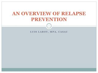 AN OVERVIEW OF RELAPSE PREVENTION