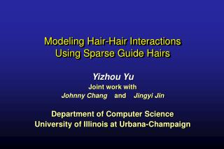 Modeling Hair-Hair Interactions  Using Sparse Guide Hairs