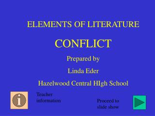 ELEMENTS OF LITERATURE CONFLICT Prepared by Linda Eder Hazelwood Central HIgh School