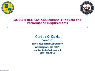 GOES-R HES-CW Applications, Products and  Performance Requirements