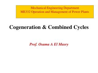 Cogeneration & Combined Cycles
