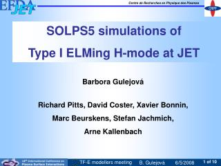 SOLPS5 simulations of  Type I ELMing H-mode at JET
