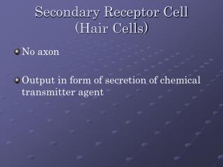 Secondary Receptor Cell (Hair Cells)