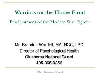 Warriors on the Home Front Readjustment of the Modern War Fighter