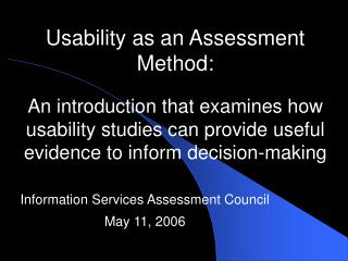 Information Services Assessment Council May 11, 2006