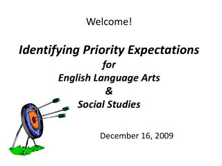 Welcome ! Identifying Priority Expectations for English Language Arts & Social Studies