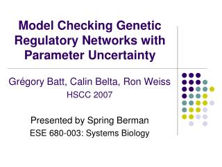 Model Checking Genetic Regulatory Networks with Parameter Uncertainty