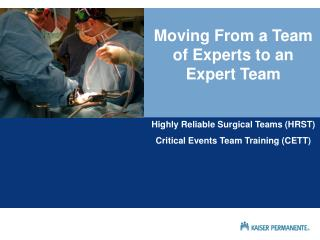 Moving From a Team of Experts to an Expert Team