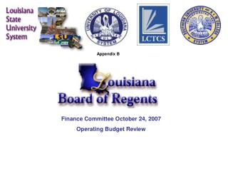 Finance Committee October 24, 2007 Operating Budget Review