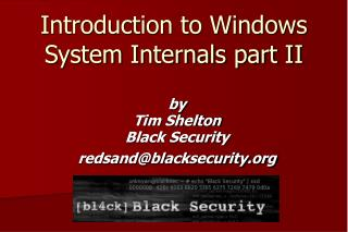 Introduction to Windows System Internals part II