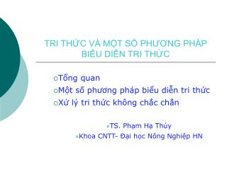 TRI TH?C V� M?T S? PH??NG PH�P BI?U DI?N TRI TH?C