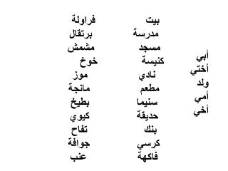 بيت                فراولة  مدرسة             برتقال مسجد              مشمش