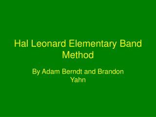 Hal Leonard Elementary Band Method