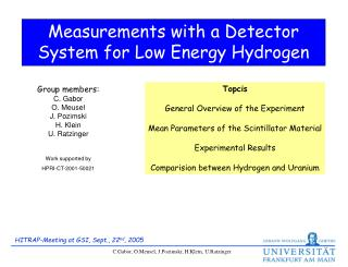 Measurements with a Detector System for Low Energy Hydrogen