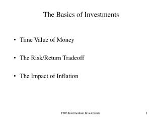 The Basics of Investments