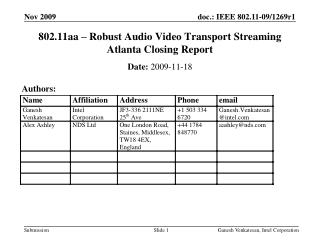 802.11aa – Robust Audio Video Transport Streaming  Atlanta Closing Report
