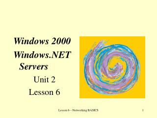 Windows 2000 Windows.NET Servers Unit 2 Lesson 6