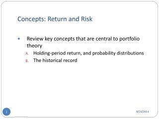 Concepts: Return and Risk