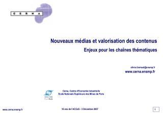 Cerna, Centre d'Economie Industrielle Ecole Nationale Supérieure des Mines de Paris