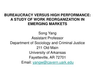 BUREAUCRACY VERSUS HIGH PERFORMANCE: A STUDY OF WORK REORGANIZATION IN EMERGING MARKETS