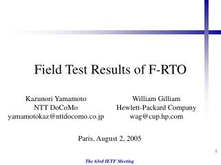 Field Test Results of F-RTO