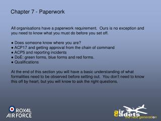 Chapter 7 - Paperwork