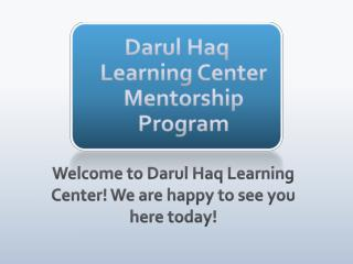 Darul Haq Learning Center   Mentorship Program