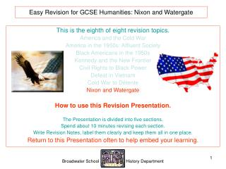 Easy Revision for GCSE Humanities:  Nixon and Watergate