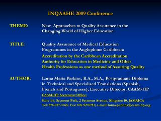 INQAAHE 2009 Conference