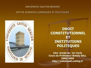 UNIVERSITE GASTON BERGER UFR DE SCIENCES JURIDIQUES ET POLITIQUES
