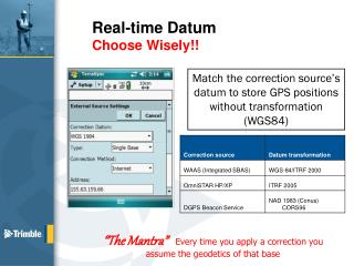 Real-time Datum Choose Wisely!!