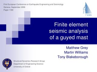 Finite element  seismic analysis  of a guyed mast