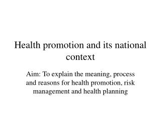 Health promotion and its national context